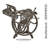 letterpress printing machine... | Shutterstock .eps vector #305948552