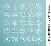 collection of 25 lacy white... | Shutterstock .eps vector #305987006