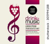 idea concept wine and music.... | Shutterstock .eps vector #305994188