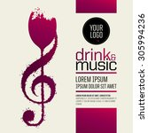 idea concept wine and music.... | Shutterstock .eps vector #305994236