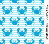 seamless pattern with blue crab ... | Shutterstock .eps vector #305995412