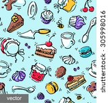confectionery vector seamless... | Shutterstock .eps vector #305998016