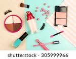 cosmetic on colorful paper... | Shutterstock . vector #305999966