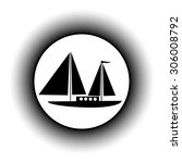 sailing ship button on white... | Shutterstock .eps vector #306008792