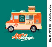 cartoon fast food car with a... | Shutterstock .eps vector #306012002