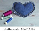 Denim Heart And Thread On...