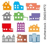 vector set. houses and... | Shutterstock .eps vector #306014972