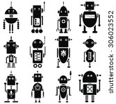 vintage retro robots  2 icons...   Shutterstock .eps vector #306023552