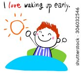 lively boy love waking up early ... | Shutterstock .eps vector #306032546