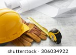 tools and floor plan with... | Shutterstock . vector #306034922