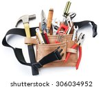 tool belt with tools against... | Shutterstock . vector #306034952