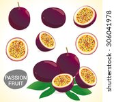 set of passionfruit  passion... | Shutterstock .eps vector #306041978