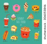 funny fast food set. vector... | Shutterstock .eps vector #306053846