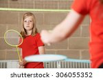 Two Girl Playing Badminton In...