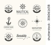 set of retro nautical labels ... | Shutterstock .eps vector #306061658