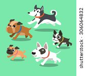 cartoon dogs running | Shutterstock .eps vector #306064832