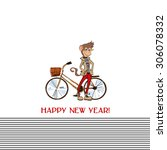 card with stylish hipster... | Shutterstock .eps vector #306078332
