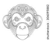 vector ornate monkey head.... | Shutterstock .eps vector #306095882