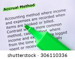 Small photo of Accrual Method words highlighted on the white background