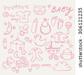 collection of doodle vector... | Shutterstock .eps vector #306121235
