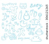 collection of doodle vector... | Shutterstock .eps vector #306121265