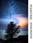 the milky way  clouds and a... | Shutterstock . vector #306130526