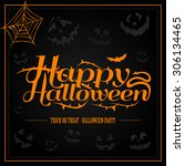 happy halloween orange letter...   Shutterstock .eps vector #306134465