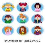 smiling beautiful girls...   Shutterstock .eps vector #306139712