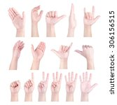 collection of hand isolated on... | Shutterstock . vector #306156515