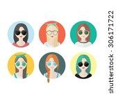 set of hipster girls and geek... | Shutterstock .eps vector #306171722