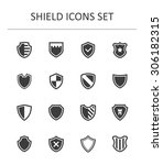 shield icons set. | Shutterstock .eps vector #306182315