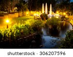 Twilight Fountain In Night...