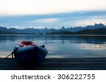 Raft On Lake With Nature View