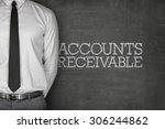 Small photo of Accounts receivable text on blackboard with businessman on side