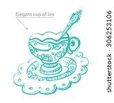 Tea Time. Decorative Golden Cu...