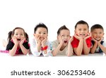 asian kids lying on the floor | Shutterstock . vector #306253406