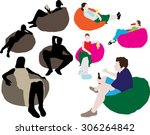 people sitting on a lazy bag   Shutterstock .eps vector #306264842