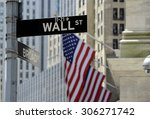 Wall Street Sign With Focus On...