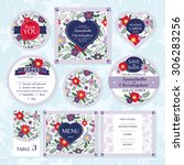 set of floral wedding cards... | Shutterstock .eps vector #306283256