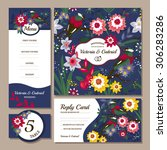 set of floral wedding cards... | Shutterstock .eps vector #306283286