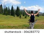 Young Man Traveler In Nature I...