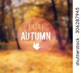 Blurred Retro Card With Autumn  ...