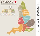 a large  colored map of england ... | Shutterstock .eps vector #306307616