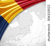 chad  flag of silk with... | Shutterstock . vector #306310022