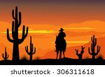 Cowboy And Desert Sunset