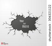 vector banner on cracked ground ... | Shutterstock .eps vector #306321122
