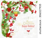 colorful invitation card with... | Shutterstock .eps vector #306327935