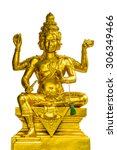 Small photo of Golden statue of Brahma isolated on white background