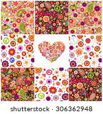 collection of hippie wallpapers | Shutterstock .eps vector #306362948