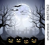 graveyard and pumpkins in foggy ... | Shutterstock .eps vector #306373262